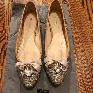 Miu Miu/Prada Silver Glitter Flats size 8 Like New